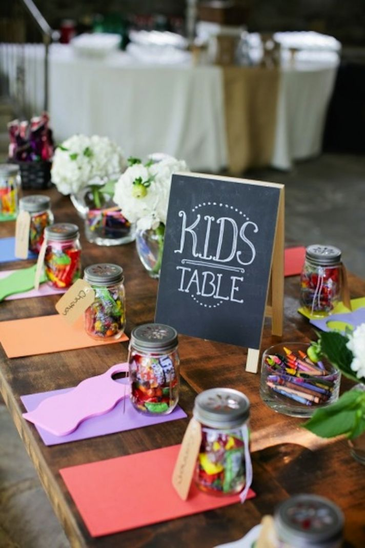 colorful cute kids table at wedding