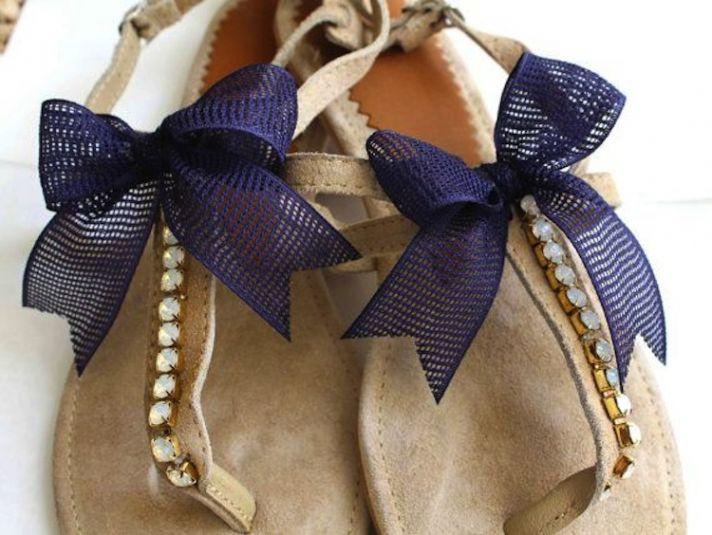 Blue Bow Ties On Wedding Sandal