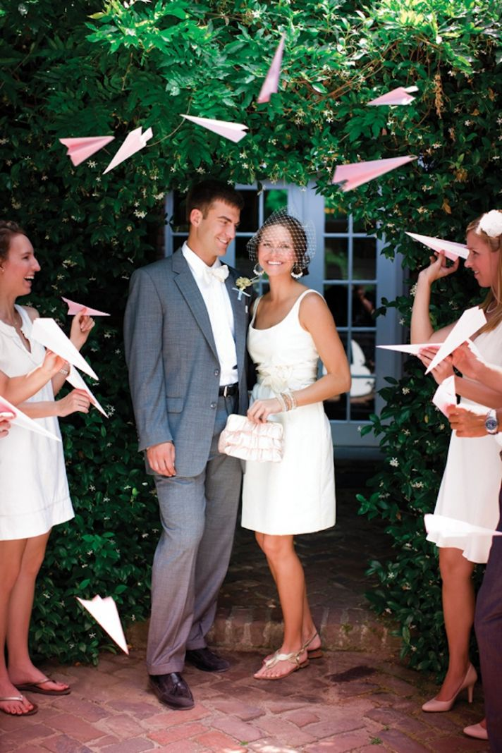 Memorable Wedding Send-Off With Paper Airplanes