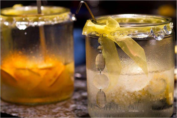 Arizona-july-wedding-signature-drinks-wedding-detail-photo-yellow-ribbon-hanging-crystals-at-reception