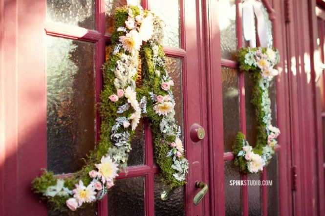 Moss Covered 24 Inch Church Door Wedding Initials Letters Monogram Wreath