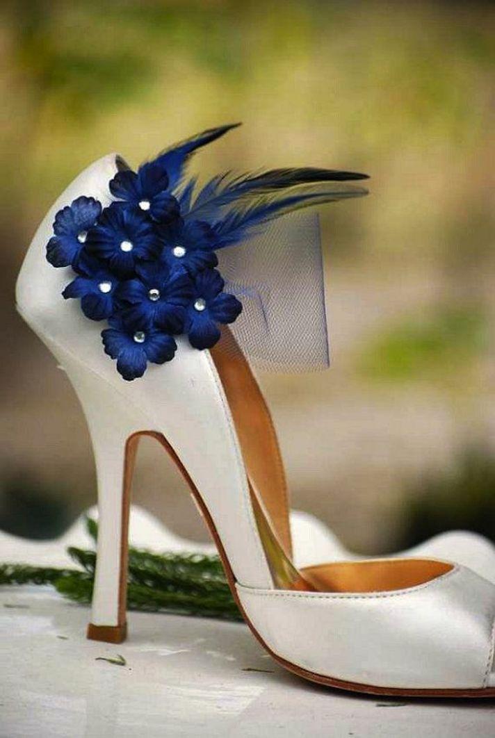 Blue Flowers on Wedding Shoe