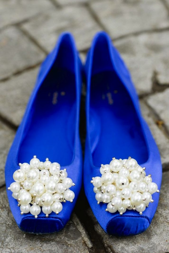 Blue Wedding Shoes With Pearls on the Toe