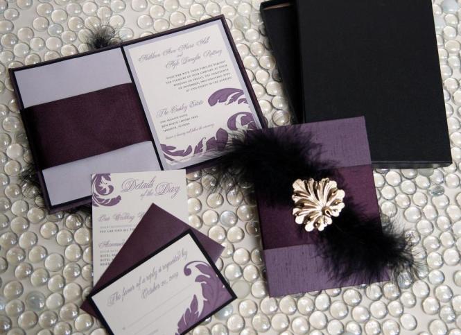 Pea Feathers Wedding Invitation