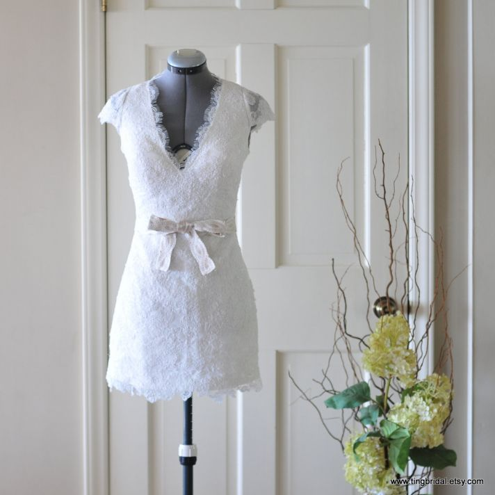 lovely lace LWDs for the brides wedding reception look v neck mini