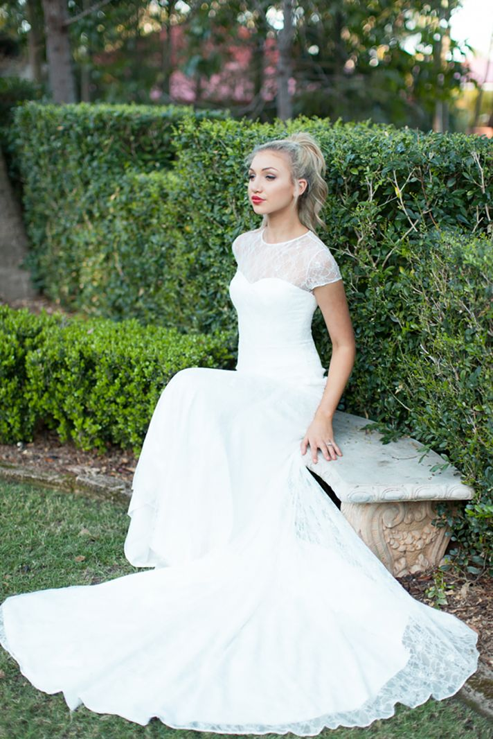 Brooke Wedding Gown with Lace and Long Train