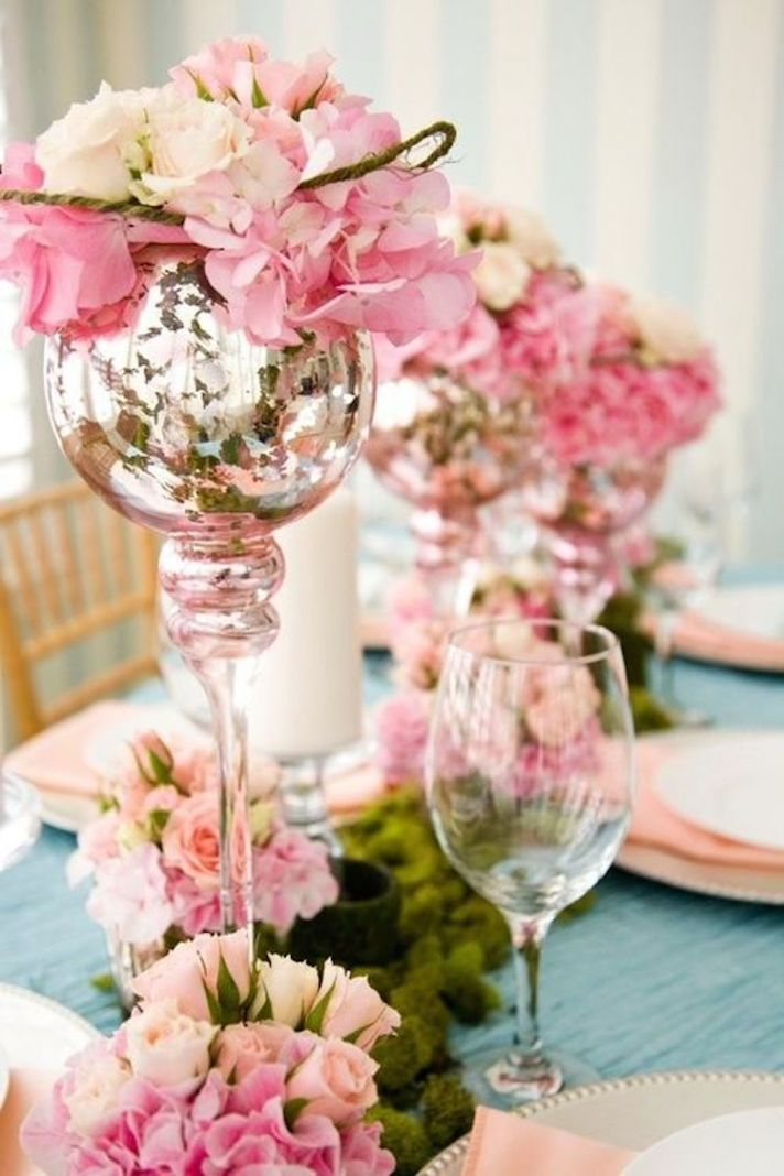 Pretty Pink Flowers on Mercury Glass Stands for Centerpieces