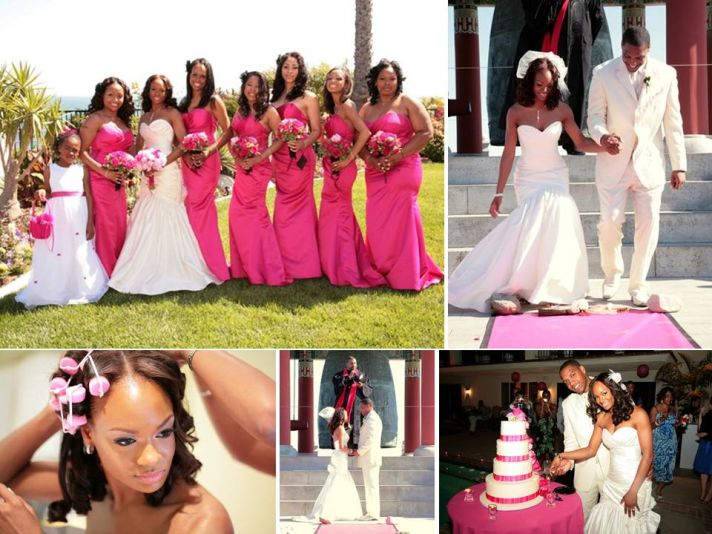 Bride wears white sweetheart Watters wedding dress, bridesmaids in hot pink full-length gowns