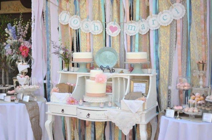 whimsical wedding reception decor ribbon backdrop wedding DIY 1