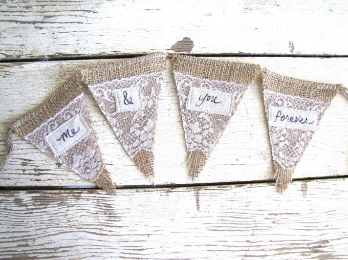 burlap lace wedding sign penant banner