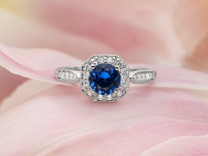 Victorian Sapphire Halo Ring