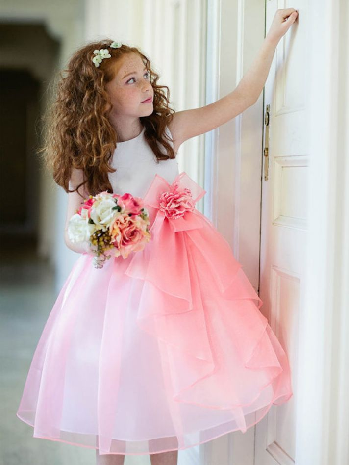 Sweet Flower Girl Dress with Pink Skirt
