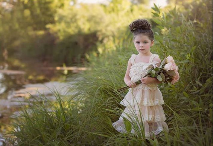 Sweet and Rustic Tiered Flower Girl Dress with Lace Details