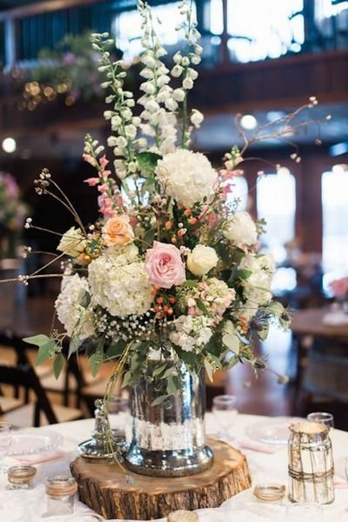 Gorgeous Floral Centerpiece on a Rustic Wood Slab