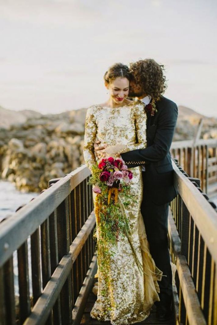 Beautiful Gold Sequin Wedding Dress