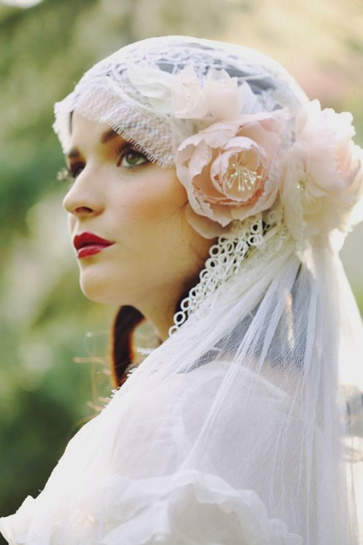 Beautiful flowers in Juliet Cap Bridal Veil