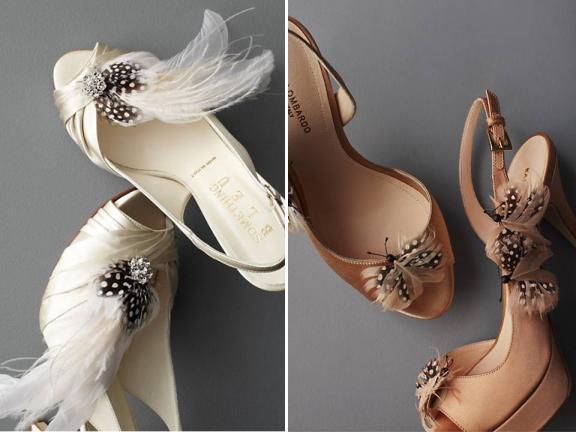 Feather-festooned peep-toe bridal heels by BHLDN