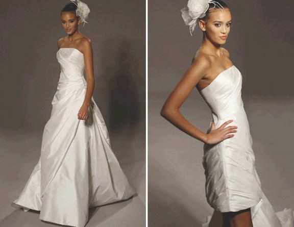 Off-white strapless wedding dress with detachable skirt for the wedding reception