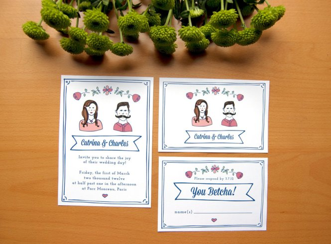 Cute Wedding Invitations Collection Vector Free