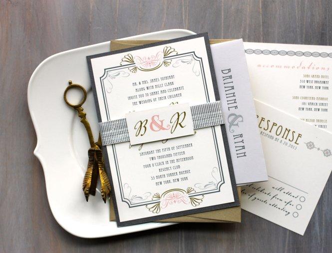 Wedding Invitation Templates Art Deco