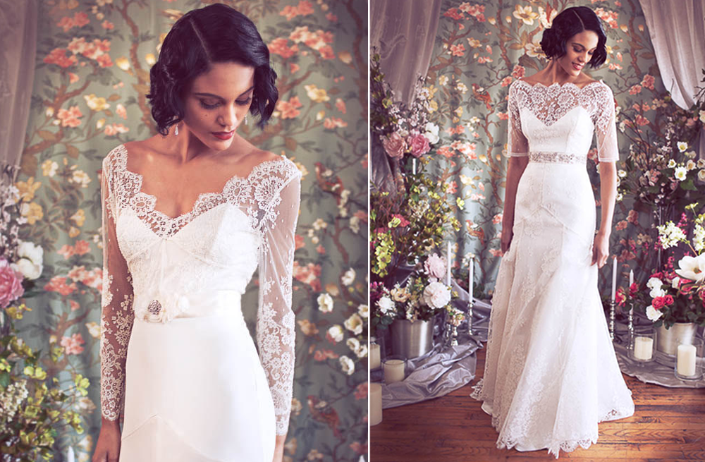 Sleeved Lace Wedding Dress Trumpet