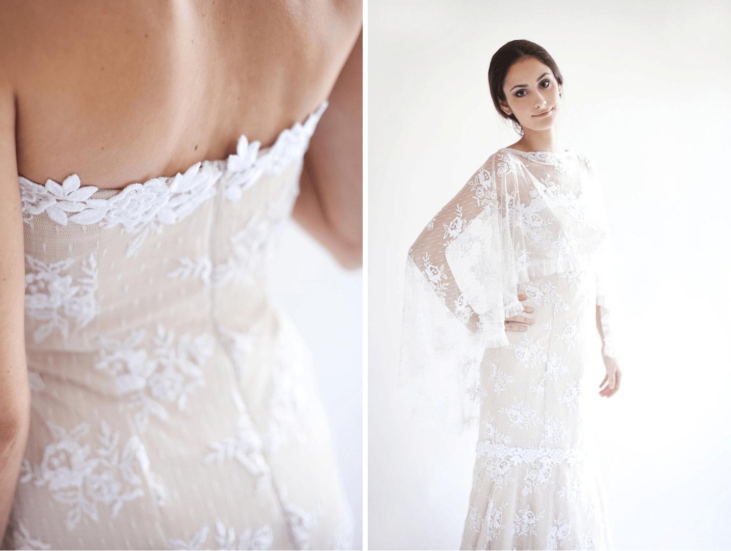 Beige With White Lace Handmade Wedding Dress