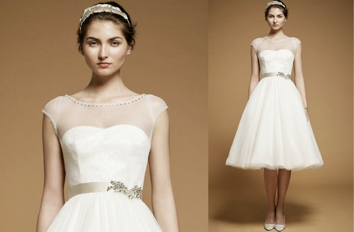 Sheer Cap Sleeve Wedding Reception Dress