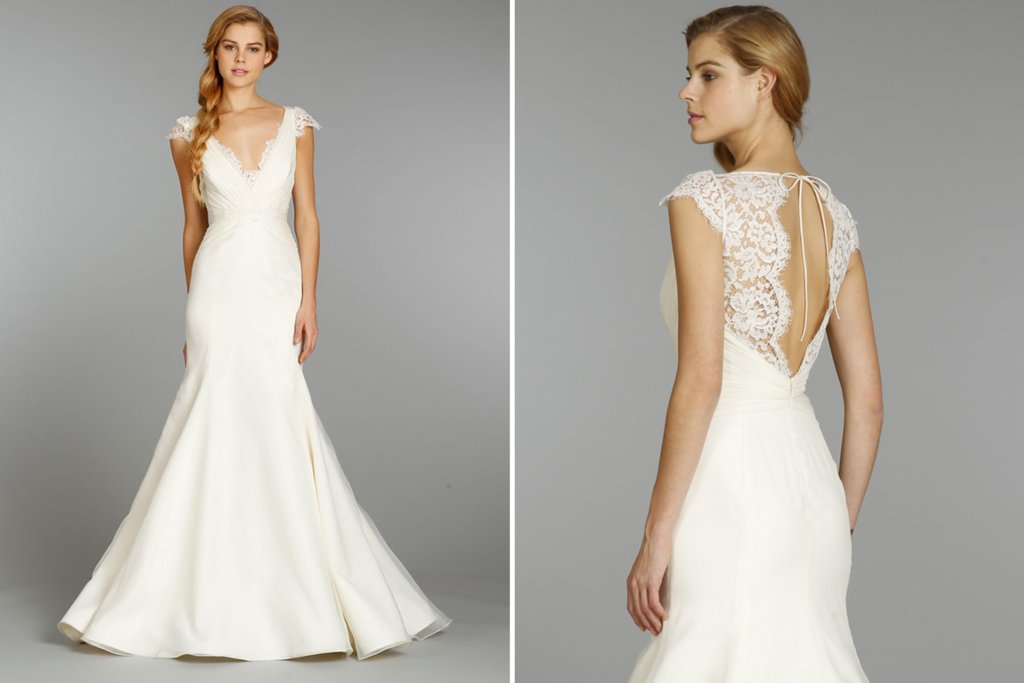 Jim Hjelm Blush Wedding Dress With Lace Cap Sleeves