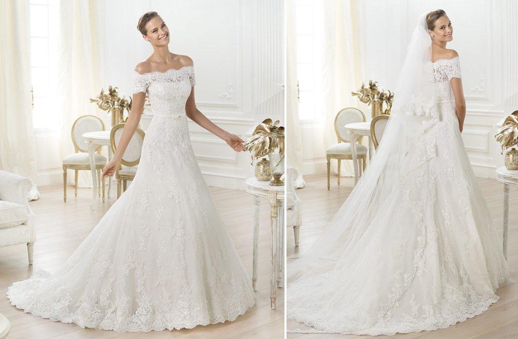 Off The Shoulder Lace Wedding Dress By Pronovias