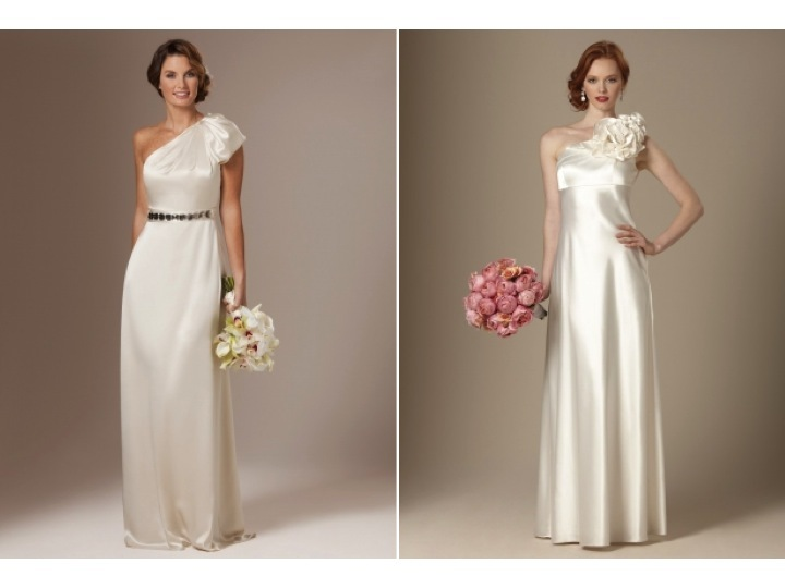 Sultry Ivory Silk One-shoulder Column Bridal Gown And