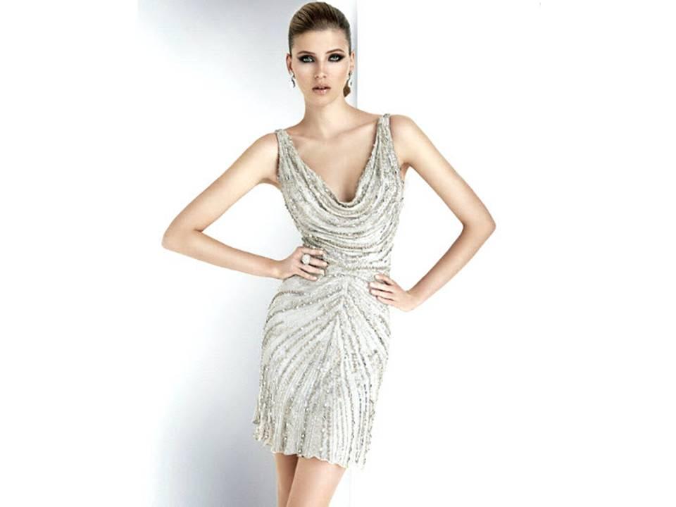 Chic Cowl Neck Metallic Beaded Wedding Reception Dress By