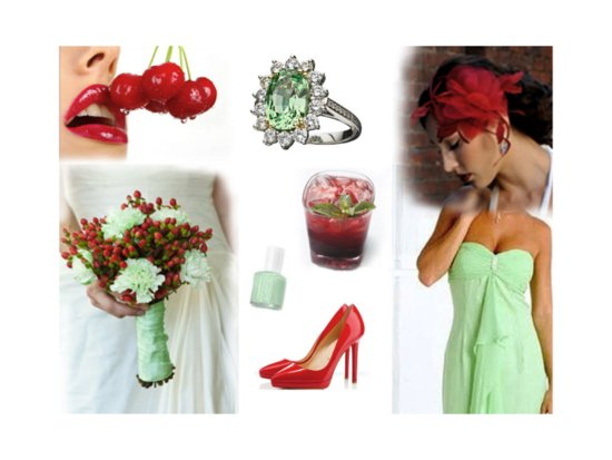 Mint Green And Bright Cherry Wedding Color Palette For