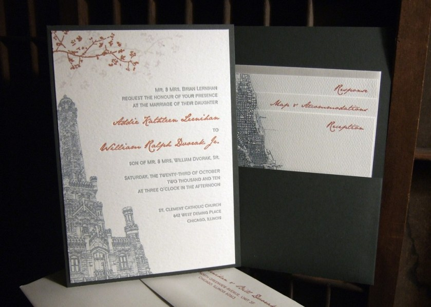 White Charcoal Grey And Burnt Orange Eco Friendly Letterpress Wedding Invitation