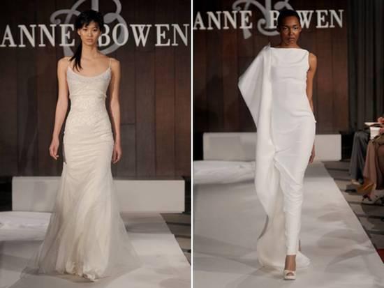 Modern White Column Wedding Dress And Romantic Ivory Scoop