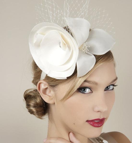 Parisian Chic Ivory Bridal Headband With Satin Flower And