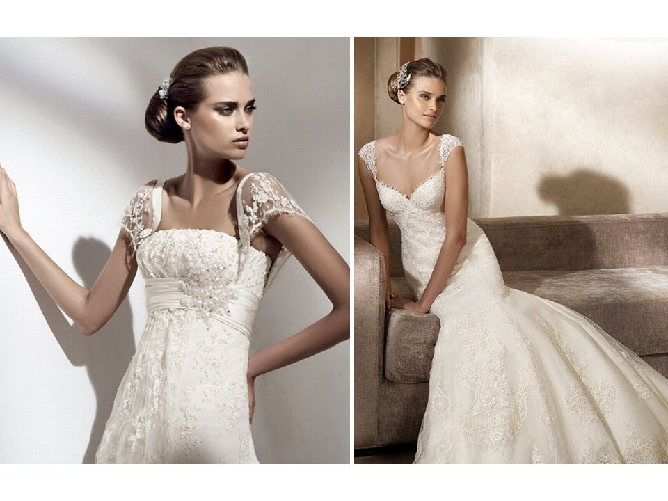 Pronovias Wedding Dress Featuring Lace-adorned Cap Sleeves