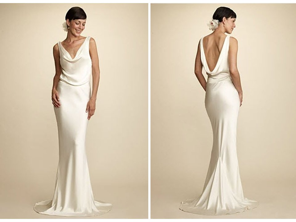 Simple And Chic Alix And Kelly Cowl Neck Wedding Dress