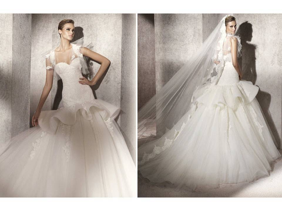 2012 Pronovias Wedding Dress With Romantic Bustle And