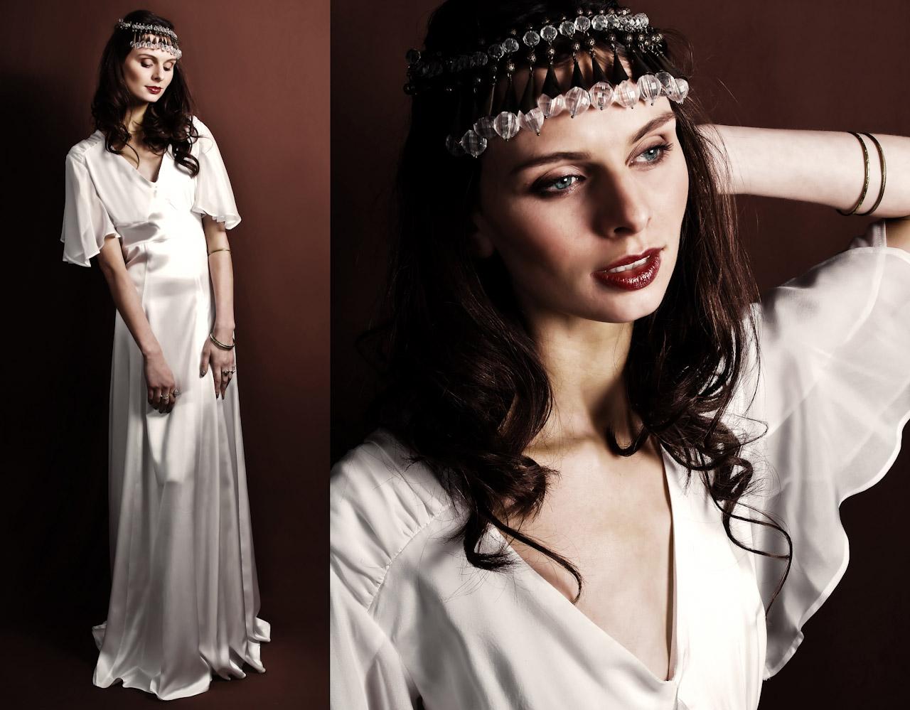 Vintage-inspired White Silk Sheath Wedding Dress With