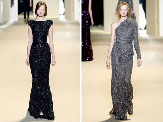 Black And Grey Sequin-adorned Gowns By Elie Saab
