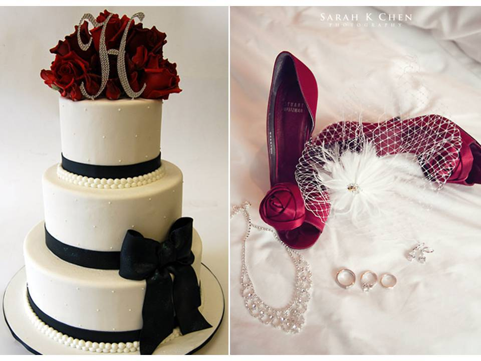 Red Valentines And White Dresses Wedding Day