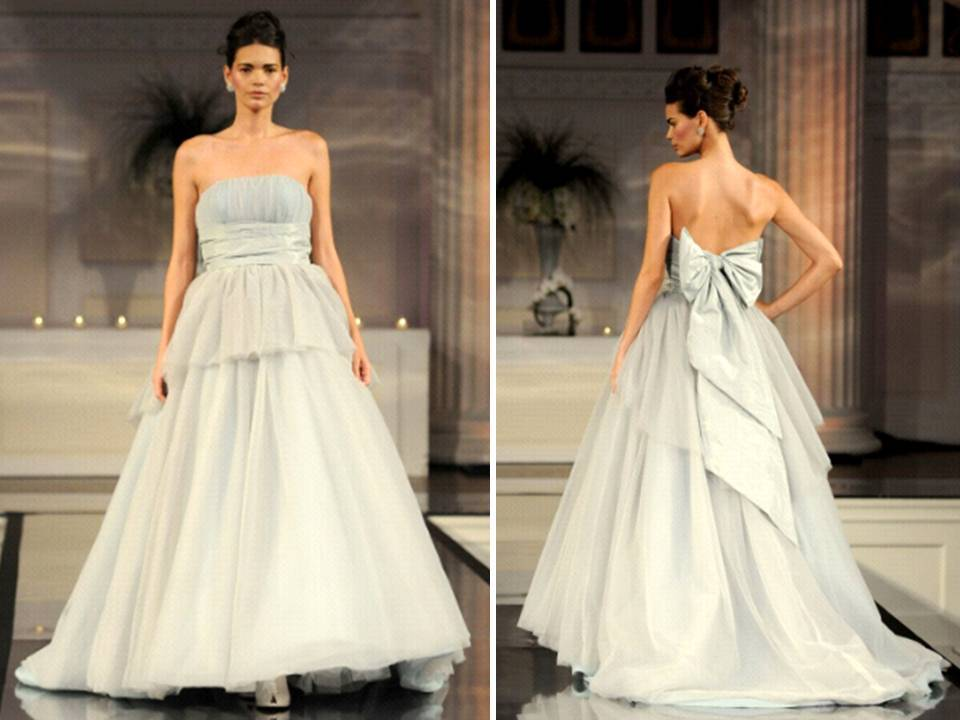 Silver Ball Gown Strapless Wedding Dress From 2011 David