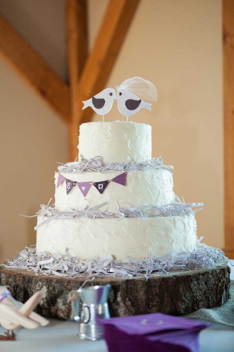 Rustic Love Birds Wedding Cake