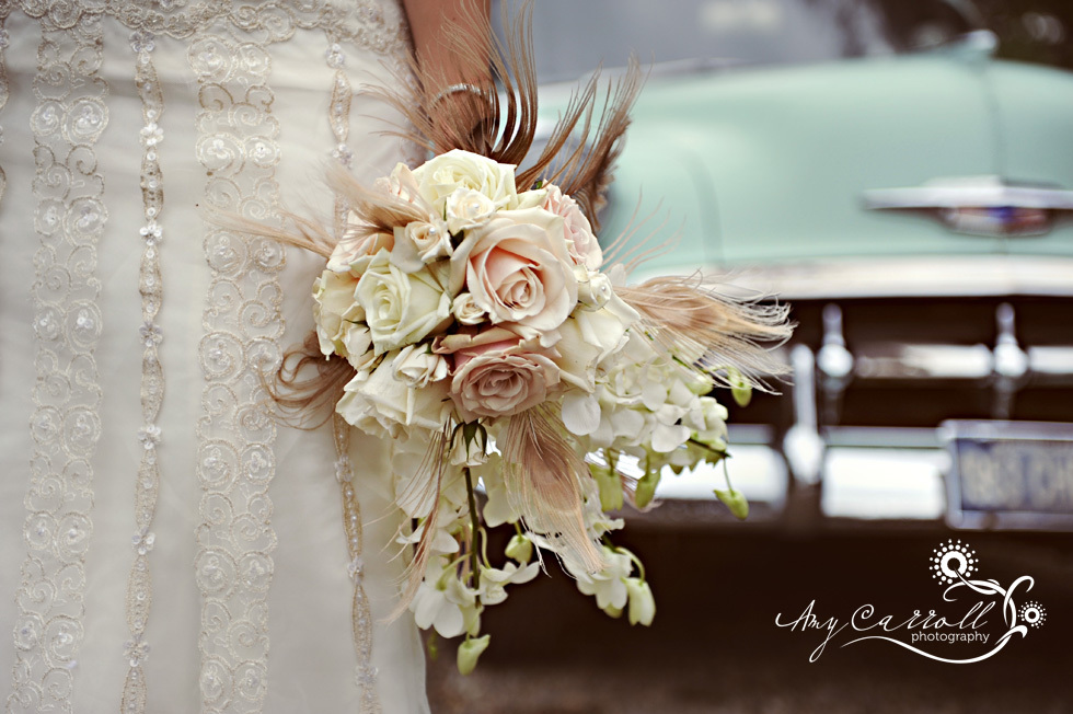 Vintage Bride Holds Unique Bridal Bouquet Of Ivory And