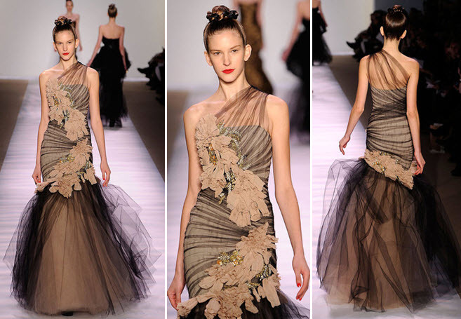 Stunning One-shoulder Gown With Sheer Black Tulle And