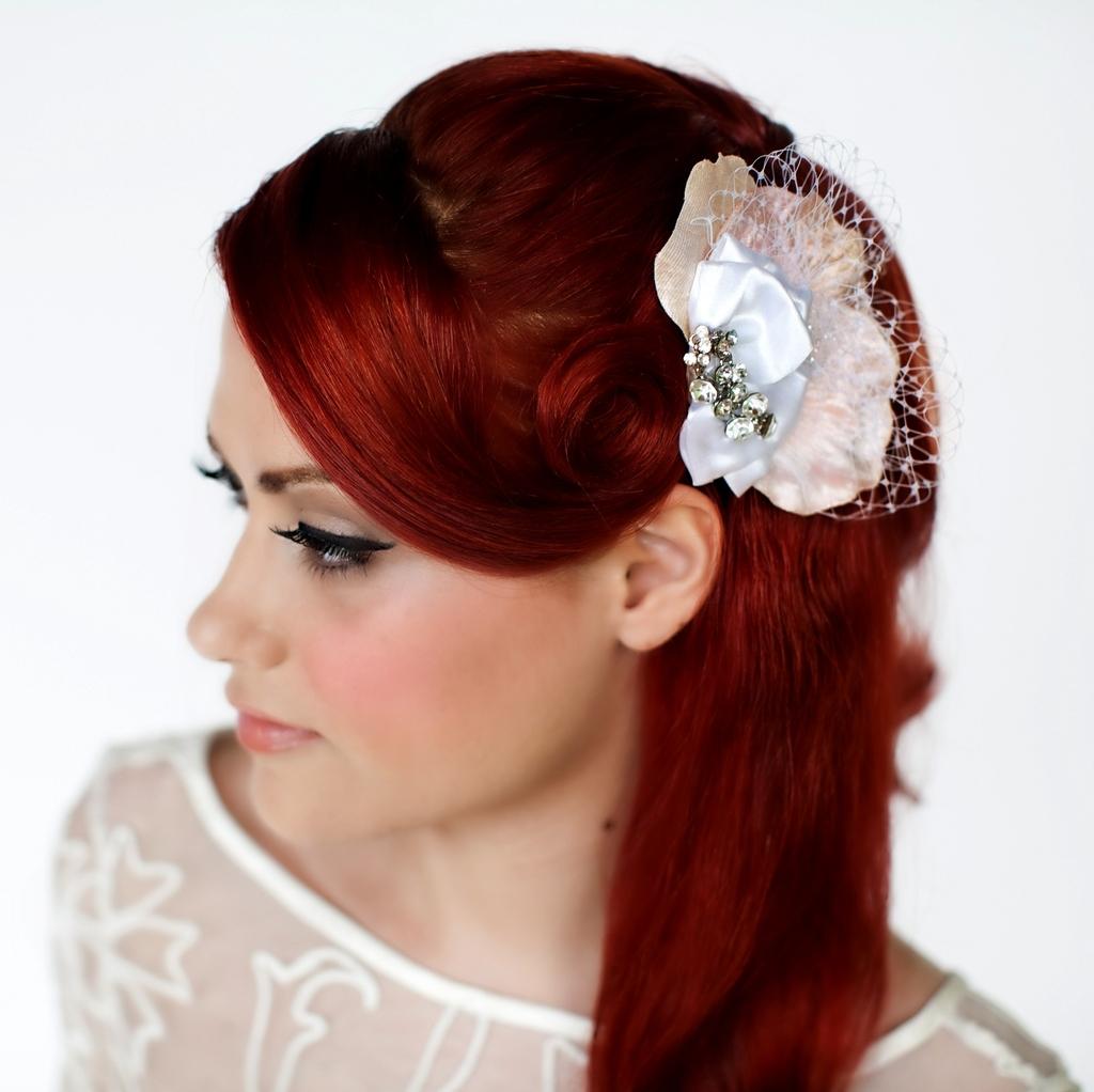 stunning bridal hair accessory sculptured fabric flower in peach velvet white veiling cluster of
