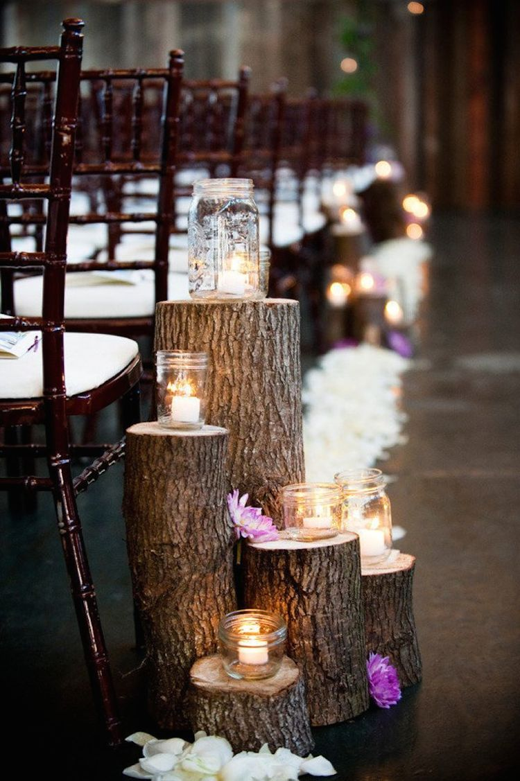 Layered Tree Stumps And Candles For Aisle Decor