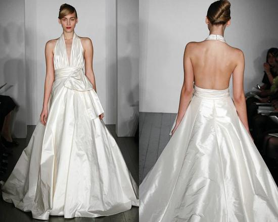 White Ballgown Wedding Dress From Amsale With Ruffled