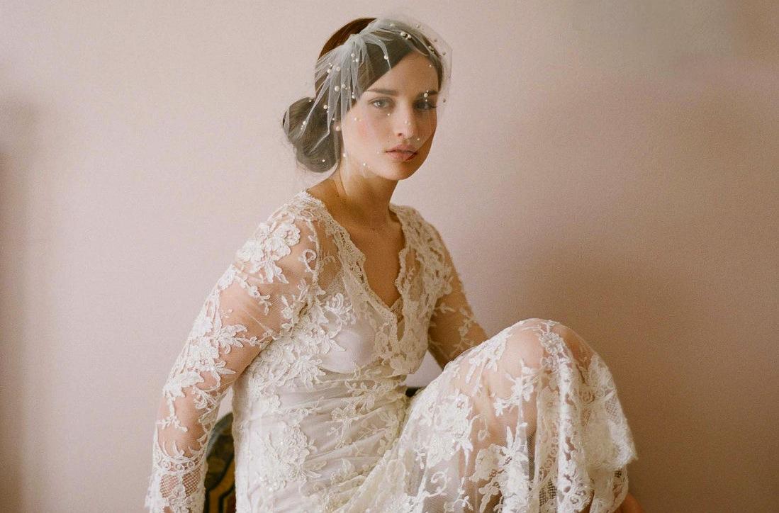 Romantic Bridal Blusher Lace Wedding Dress