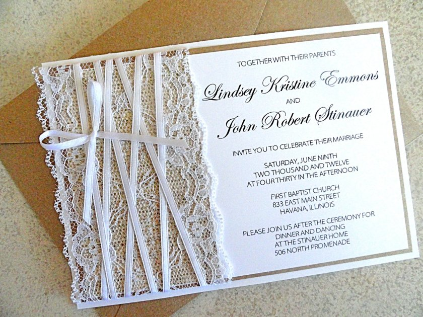 Wedding Pictures Onewed Match Images 76069 Lace Embellished Burlap Invitations Original Jpg 1379181051
